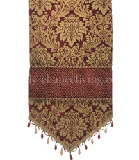High End Table Runner Crimson Damask