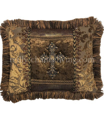 Old World Style Accent Pillow With Jeweled Cross