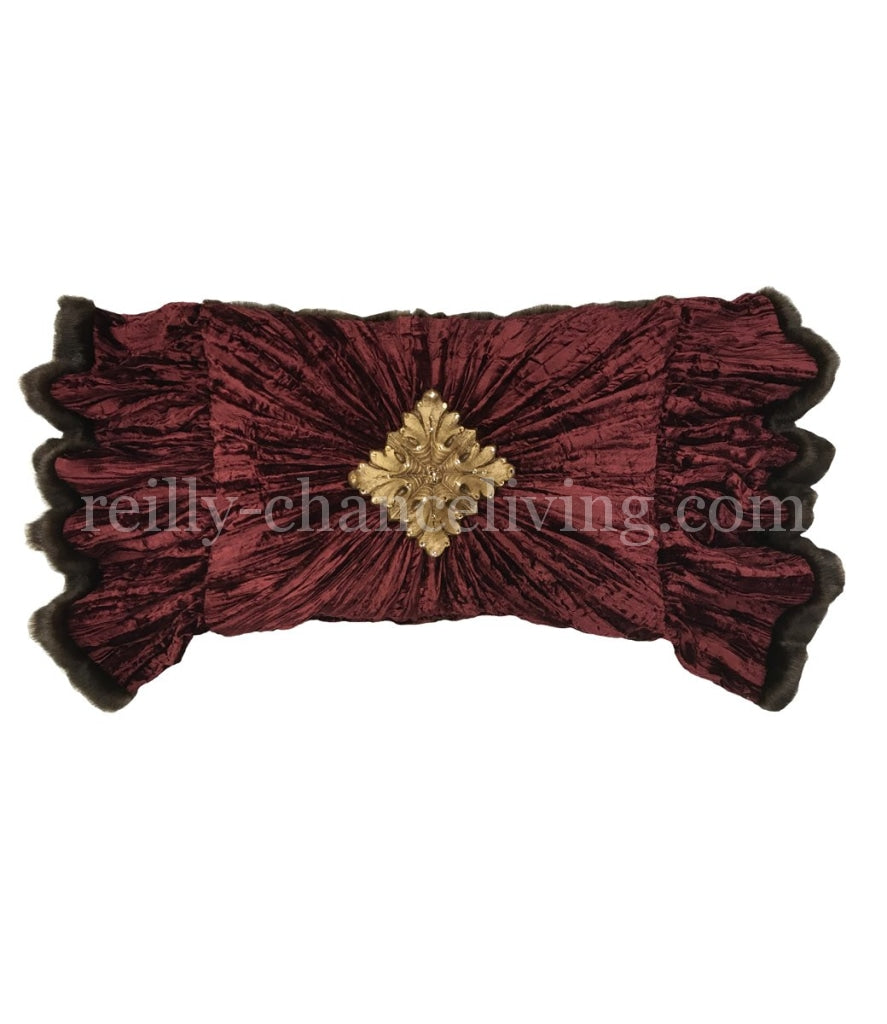 Luxury Accent Pillow Burgundy Velvet