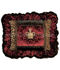 Ruffled Decorative Pillow with Jeweled Crown Red and Leopard Print 20