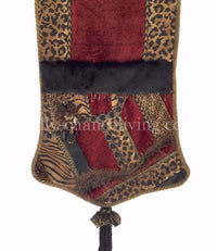 Red And Animal Print Pieced Holiday Table Runner