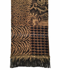 Black And Tan Chenille And Velvet Patchwork Designer Table Runner 18x72