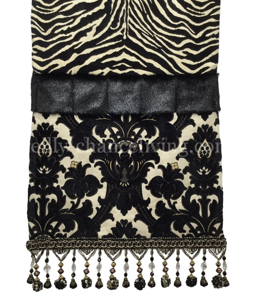 Table_runner-black-white-damask-zebra-beads-reilly_chance_collection
