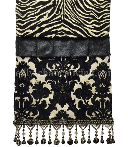 Black And White Zebra And Damask Table Runner