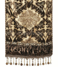 Luxury Table Runner Chocolate, Gold And Silver Damask Velvet