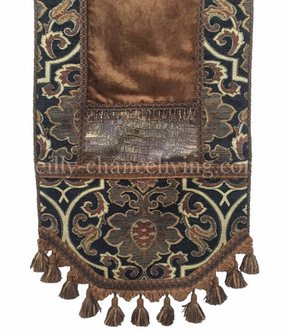 Charcoal Tapestry And Bronze Velvet Table Runner