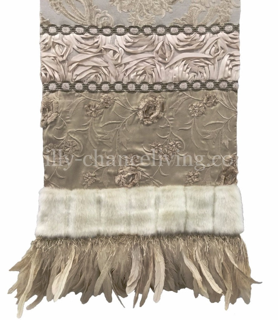 Table_runner-cream-silk-chenille-feathers-reilly_chance_collection