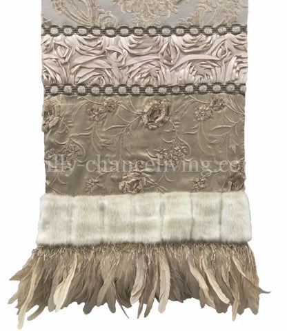 Beige And Cream Toned Damask And Silk Table Runner 17x72