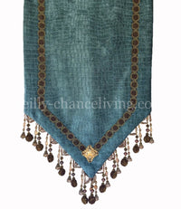 Turquoise Croc Chenille Table Runner