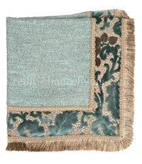 Designer Table Square Blue/Taupe with Fringe