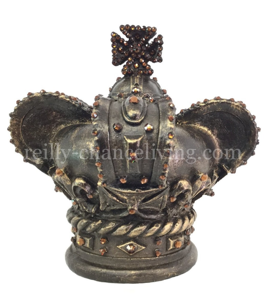 "Jeweled Crown Candle Topper/Table Top Decor (large) 7"" tall"