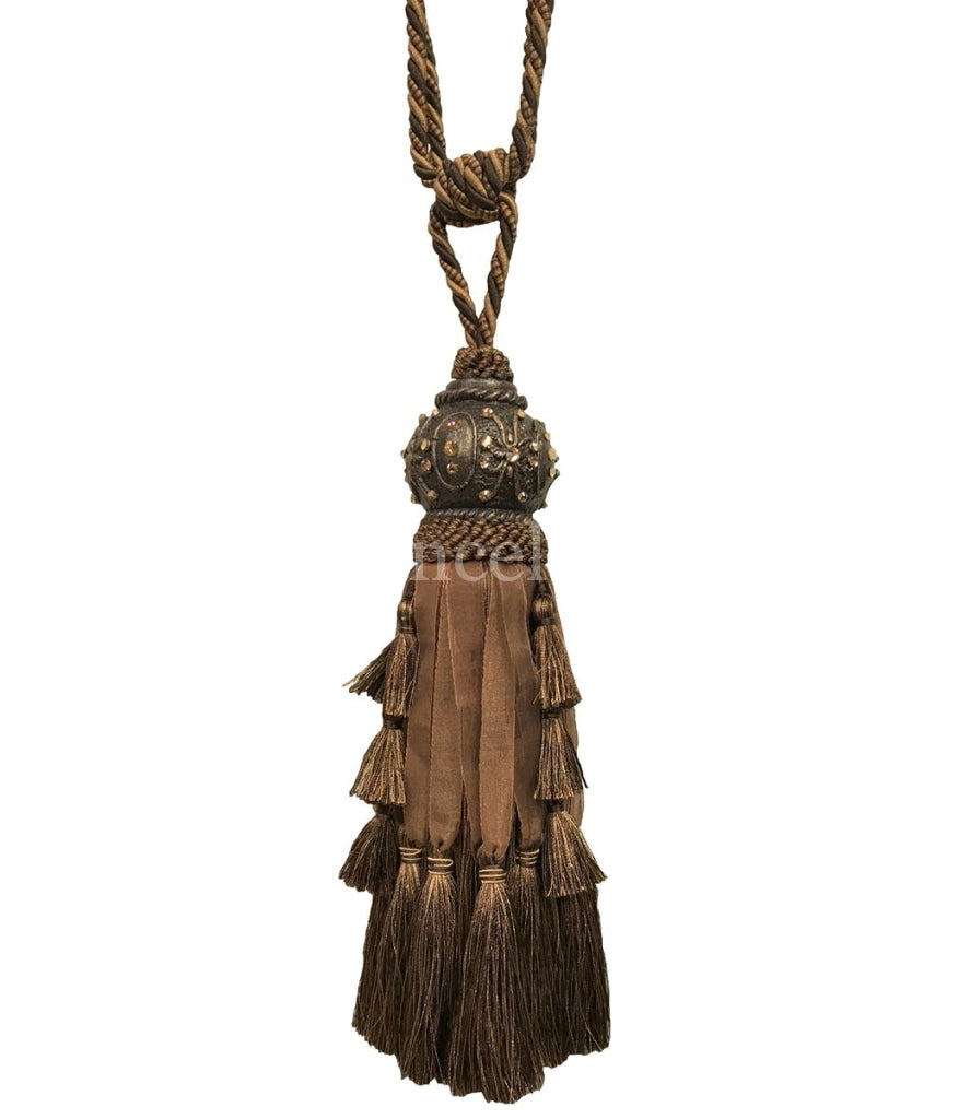 Jeweled Tassel Tie Back Chocolate Brown