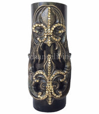 Decorative Candle 3x9 with Fleur de Lis Wrap