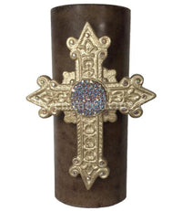 Decorative Candle 4x9  Jeweled Cross