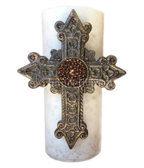 Triple_scented-decorative_cream_candle-vanilla-bronze_jeweled_cross-sir_olivers-reilly_chance_collection