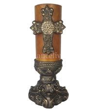 Decorative Gold Candle 3x6 Cross and Candle Base