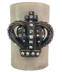 Decorative Candle 4x6 Jeweled Scroll Crown