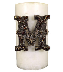 Decorative Candle 3X6 With Swarovski Jeweled Initial Candles