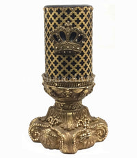 Decorative Jeweled 4x6 Candle Base and Candle Jeweled Mesh with Crown