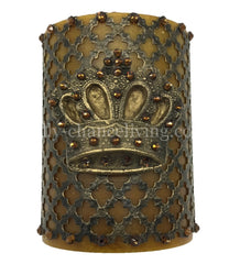 Decorative Candle 4X6 With Jeweled Mesh And Crown Candles