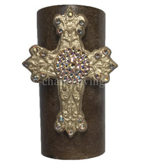Decorative Candle 3x6 Jeweled Cross