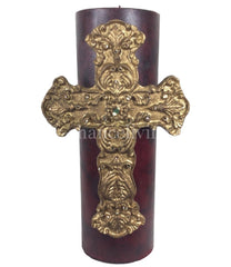 Triple_scented_candles-cream-vanilla-4x12-gold_jeweled_cross-bling_candles-sir_olivers-reilly_chance_collection