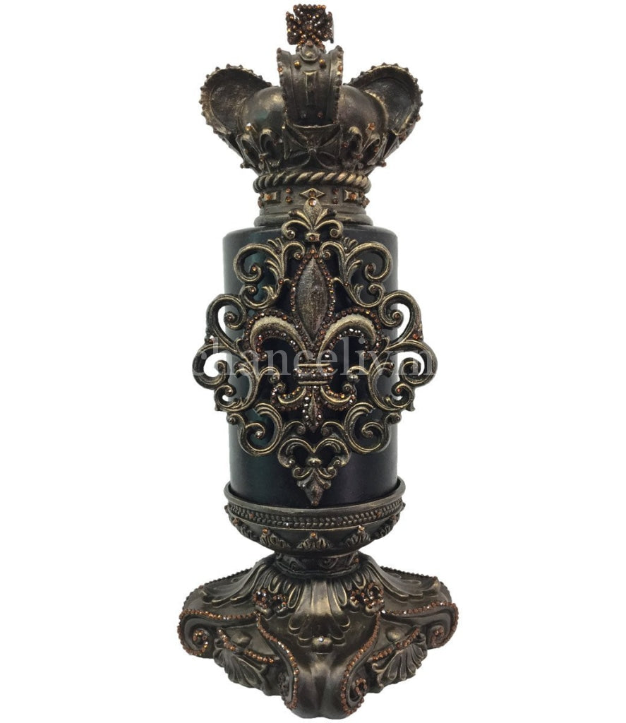 Decorative Candle 6X9 Jeweled Fleur De Lis / Base 6X6 And Crown Topper Candle/base Combination