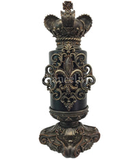 Decorative Candle 6x9 Jeweled Fleur de Lis / Candle Base 6x6 and Crown Topper