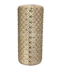 Decorative Candle 4x9 Jeweled Mesh