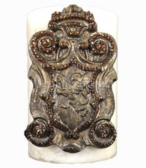 Triple_scented_candle-decorative_candles-vanilla-6x9-bronze_jeweled_lion_shield-sir_olivers-reilly_chance_collection