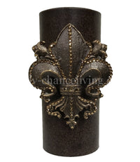 Decorative Candle 4x9 with Jeweled Scroll Fleur de Lis