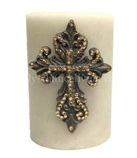 Decorative Candle with Swarovski Jeweled Scroll Cross 4x6