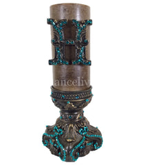 Decorative 3X6 Jeweled Candle Base And Initial Candle/base Combination