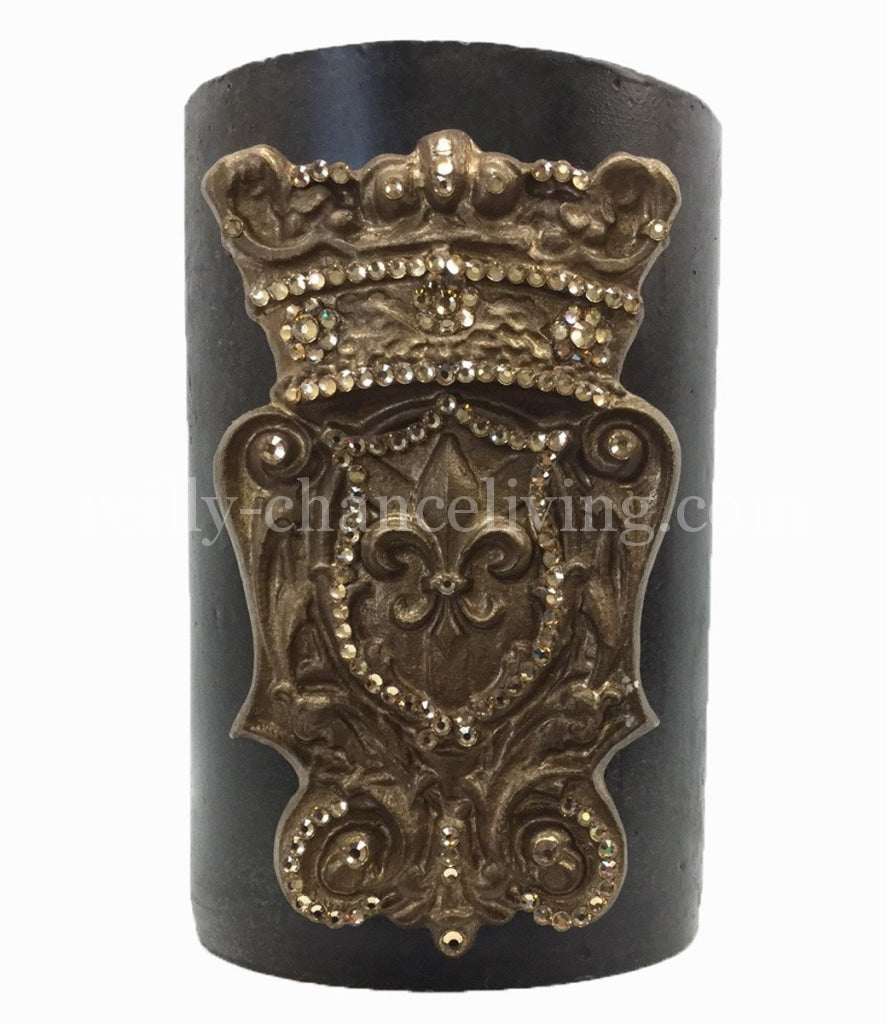 Triple_scented_decorative__brown_candle-roasted_chestnut-6x9-gold_jeweled_fleur_de_lis_shield-sir_olivers-reilly_chance_collection_grande