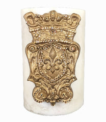 Triple_scented_decorative_cream_candle-vanilla-6x9-gold_jeweled_shield-swarovski_crystals-sir_olivers-reilly_chance_collection_grande