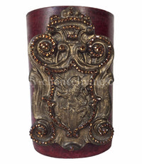 Decorative Candle 6x9 Jeweled Lion Shield