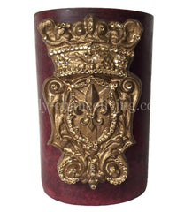 Triple_scented_decorative_red_candle-pomegranate-6x9-gold_jeweled_shield-sir_olivers-reilly_chance_collection_grande