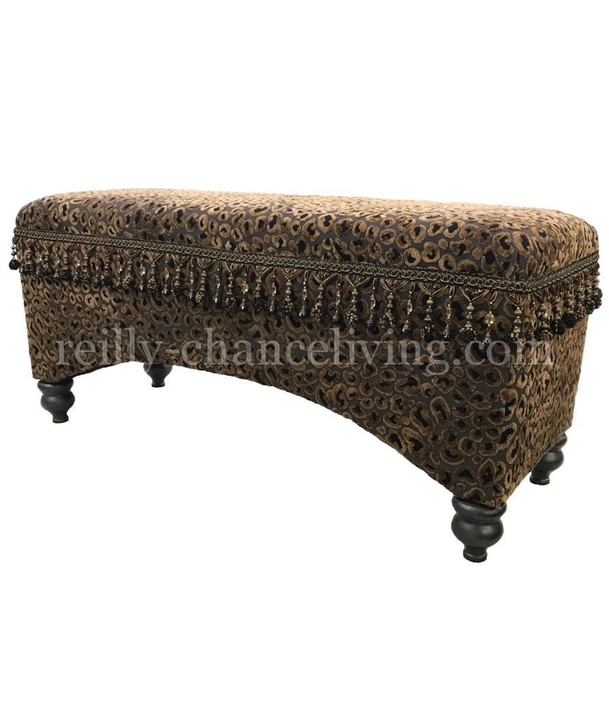 Old World Style Upholstered Bench Leopard Print Foot Stools