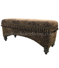 Old World Style Upholstered Bench Leopard Print