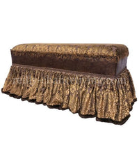Old World Style Upholstered Bench Bronze and Gold