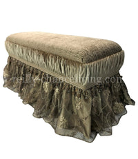 Old World Style Upholstered Bench Champagne Gold Velvet and Tiger Chenille