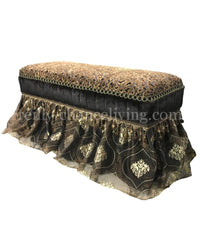 Old World Style Upholstered Bench Leopard Print with Skirt