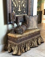 Old World Style Upholstered Bench Bronze And Gold Foot Stools