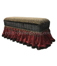 Old World Style Upholstered Bench Red Velvet and Leopard