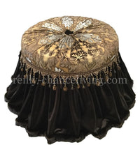 Round Vanity Stool with Rollers (Available in most any of our Fabrics)