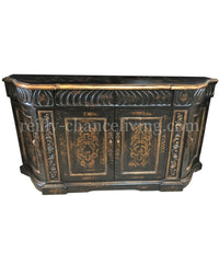 Peruvian Home Furnishings Valencia Hand Painted Wood Buffet Vintage Black FREE SHIPPING