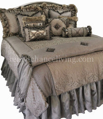 Designer_bedding-over_sized_bedding-Versailles_Luxury-bedding-gray_damask-metallic_linen-faux_fur-beads-reilly_chance_collection
