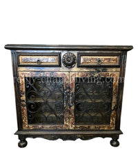Peruvian Home Furnishings Vicenza Hand Painted Wood Wrought Iron Buffet Side Chest as shown FREE SHIPPING