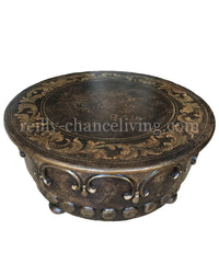 Peruvian Home Furnishings Vienna Hand Painted Wood Round Coffee Table FREE SHIPPING