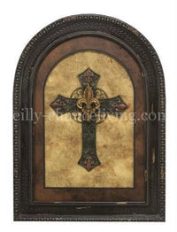 Visser Arched Framed Cross with Fleur De Lis